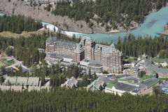 Banff Resort, Alberta Canada. Banff Resort and the Bow River in the Canadian Rockies from Mount Sulphur, Banff National Park Stock Photos