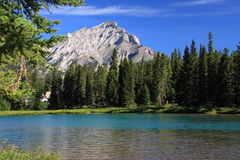 Banff - river bow. View of stoney squaw mountain Stock Photo
