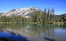 Banff - river bow. View of stoney squaw mountain over river bow Royalty Free Stock Photo