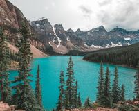 Banff`s Lake Louise is home to Moraine Lake`s beautiful blue water royalty free stock photography