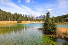Banff stad i Kanada Arkivfoto