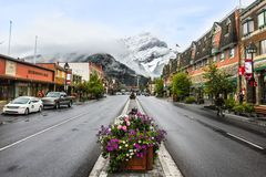 Banff-Stadt im Winter Alberta Kanada Lizenzfreie Stockfotografie