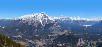 Banff Town. View panorama from Sulphur Mountain Royalty Free Stock Image