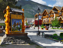 Banff Town, Alberta. Banff downtown shops. Alberta, Canada Royalty Free Stock Images