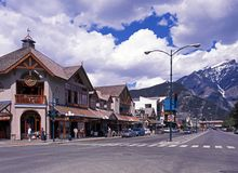 Banff town centre, Canada. Royalty Free Stock Photo