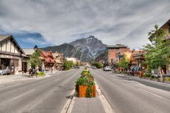 Banff Townsite in the Canadian Rockies Stock Image