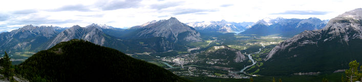 Banff Townsite Mountain Panoramic Stock Image