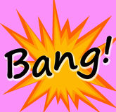 Bang!. Explosion visual and sound in comic book style Stock Photos