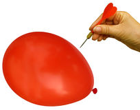 Bang! Balloon bursts. Red dart about to burst red balloon. Woman's hand. Financial metaphor - ballooning costs no more stock images