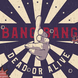 Bang-bang hand gun gesture sign, Vintage explosion background. royalty free illustration
