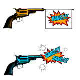 Bang bang. Toy revolver with flag. Pop art style revolver. Revolver icon. Handgun in comic style Royalty Free Stock Photo