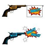 Bang bang. Toy revolver with flag. Pop art style revolver. Royalty Free Stock Photo
