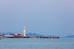 Bang Bao harbor and the lighthouse. Koh Chang island. Thailand. Bang Bao harbor with tourists boats and the white lighthouse on Koh Chang Island in Trat Province stock photos