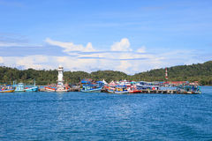 Bang Bao Port important pier to destination going hub in Koh Cha Stock Photos