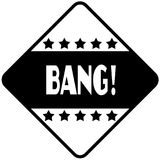 BANG   on black diamond shaped sticker label. Royalty Free Stock Photography