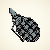 Grenade. Vector drawing. Bang blast fire pineapple dynamite bombshell on light backdrop. Freehand outline black ink hand drawn picture logo pictogram concept stock illustration