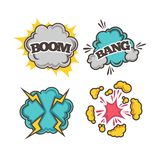 Bang and boom colorful cartoon effects with clouds of dust Royalty Free Stock Photography