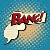 Bang comic book bubble in the shape of a gun Royalty Free Stock Images