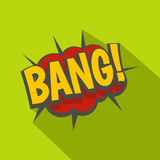 Bang, comic book explosion icon, flat style Stock Photos