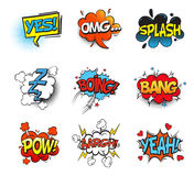 Bang comic bubble speech and smash, omg and pow. Bubble comic speeches for explanation. Onomatopoeia cartoon sounds explosion bang and fighting punch, smash and Stock Photo