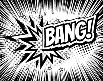 Bang comic cartoon wording. Pop-art style. Vector illustration with halftone background and rays. Explosion template Stock Photos