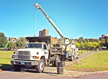 Bang Crane Truck Construction Arkivbilder