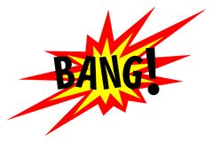 Bang! Explosion Sign. Illustration of burst, detonation sound effect royalty free illustration