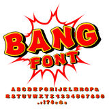 Bang font. Comic alphabet. Bright cartoon ABC. Red letters.  vector illustration