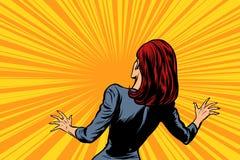 Bang gemaakte vrouwen achter, menselijke reactie vector illustratie