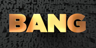 Bang - Gold text on black background - 3D rendered royalty free stock picture Stock Photo