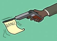 Bang From Gun. Cartoon of hand firing gun with bang flag Stock Image