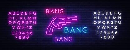 Bang Bang Gun neon sign vector. Pop Art Design template neon sign, light banner, neon signboard, nightly bright royalty free illustration