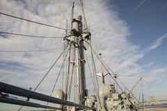 Bang och mast på Liberty Ship Arkivbilder