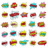 Bang, ouch shouts and yeah shouting text bubble with halftone pattern shadow. Pop art retro style shout speech bubbles. Bang, ouch shouts and yeah shouting text stock illustration