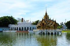 Bang Pa-In Aisawan. Artificial lake with bridge and temple in Thipya-Art at the Royal Summer Palace near Bangkok, Thailand Stock Images