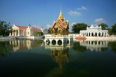 Bang Pa-In Aisawan, rayal summer palace,thailand. Bang Pa-In Aisawan, artificial lake with bridge and temple in Thipya-Art at the Royal Summer Palace near Royalty Free Stock Photography