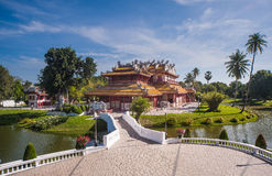 Bang Pa-In Royal Palace. Also known as the Summer Palace, is a palace complex formerly used by the Thai kings. The palace is located on the Chao Phraya River Royalty Free Stock Photo