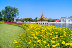 Bang Pa-In Royal Palace, also known as the Summer Palace, is a palacecomplex formerly used by the Thai kings.. Ayutthaya, Thailand - July 31, 2017 :  Bang Pa-In Stock Images