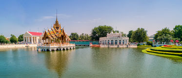 Bang Pa-In Royal Palace, also known as the Summer Palace, is a palacecomplex formerly used by the Thai kings.  Phra Thinang Uthaya Royalty Free Stock Photography