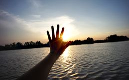 Bang pra kong river sunset time and hand in thailand stock photos