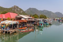 Bang Pu fishing village with its colourful boats Stock Photos