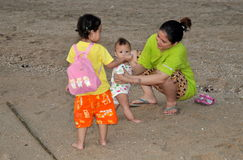 Bang Saen, Thailand: Mother with Children on Beach Stock Photo