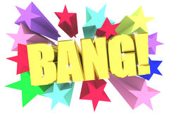 Bang text. Golden letters with vivid stars Stock Image