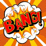 Bang word comic book pop art vector illustration. Bang word pop art retro vector illustration. Comic book style imitation Stock Photos