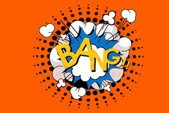 Bang wording in comic speech bubble in pop art style. Illustration stock images
