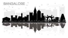 Bangalore City skyline black and white silhouette with reflectio Royalty Free Stock Images