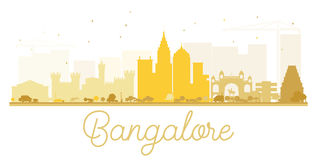 Bangalore City skyline golden silhouette. Stock Photo