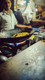 Bangalore city street, cooking rice Royalty Free Stock Photography