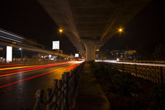 Bangalore City Traffic. Bangalore Night Traffic In Hosur Flyover Near Electronic City Royalty Free Stock Photos
