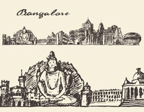 Bangalore engraved illustration hand drawn sketch Stock Image